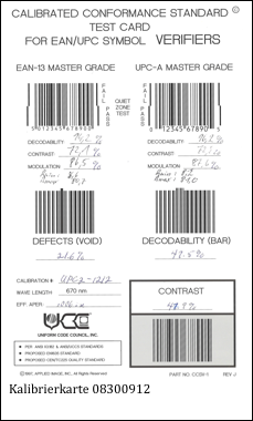 Kalibrierte Testkarte füŸr GS1 EAN/UPC Code Verifier
