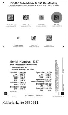 Kalibrierte Testkarte fŸür GS1 Datamatrix