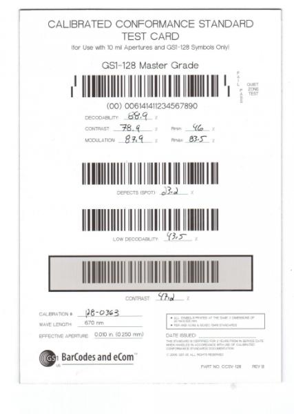 Kalibrierte Testkarte fŸür GS1 128